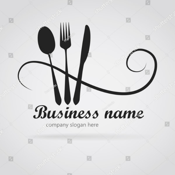 elegant utensils restaurant logo layout