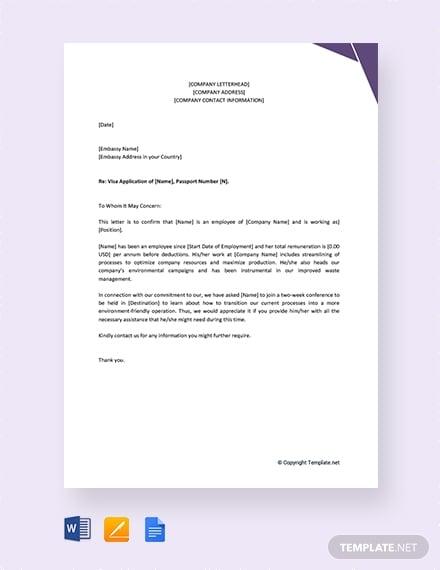 employee reference letter for visa