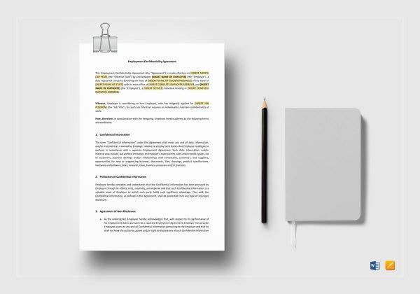 employment confidentiality agreement mockup