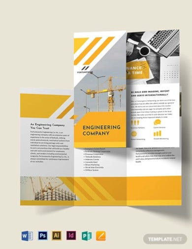 engineering company tri fold brochure template