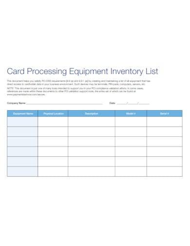 equipment inventory list sample