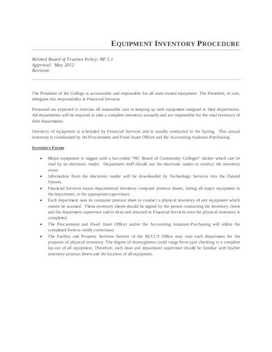 equipment inventory procedure template