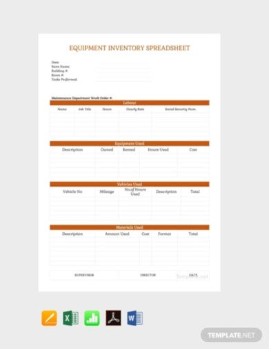 equipment inventory spreadsheet template