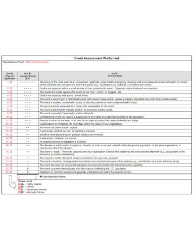 event assessment worksheet template