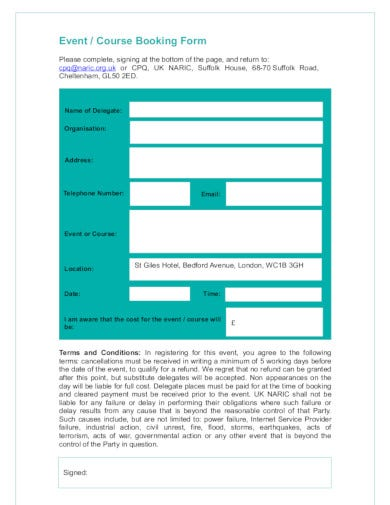 event booking form format in pdf