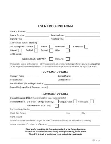 event booking form template