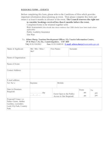 event booking form in pdf