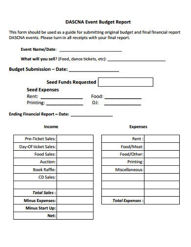 event budget report template