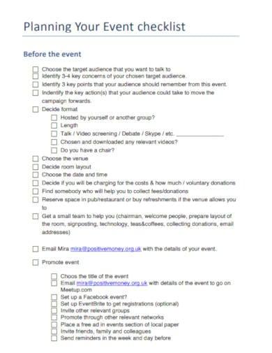 event checklist planning