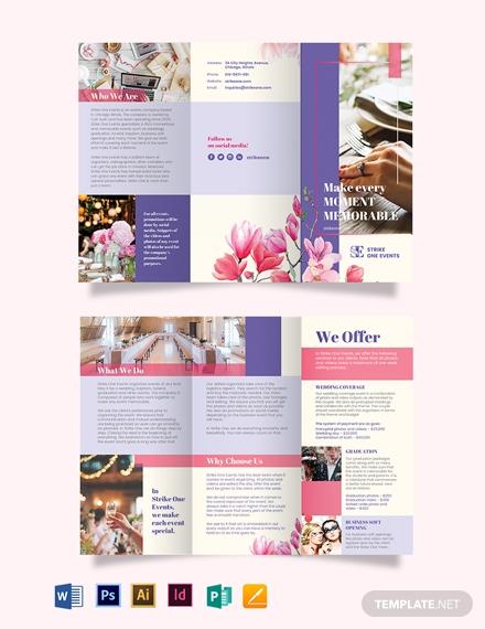 event company tri fold brochure