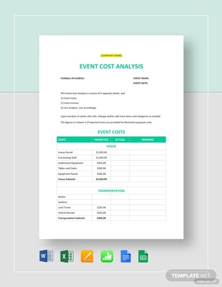 event cost analysis template1