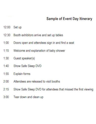 event day itinerary template