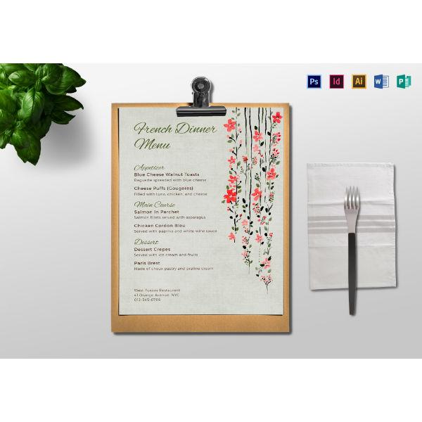 event dinner menu sample