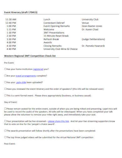 event itinerary template in pdf