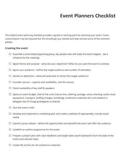 event planner checklist in pdf
