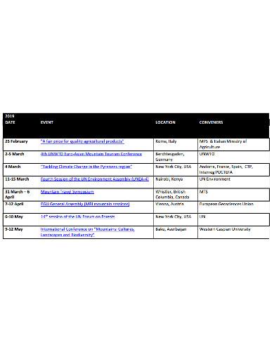 event planning calendar example