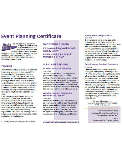 event planning certificates example