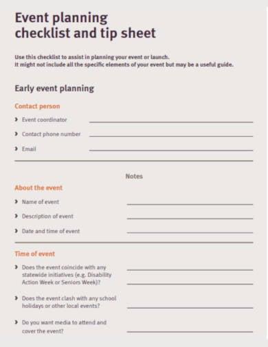 event planning checklist sheet