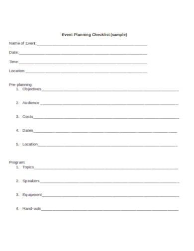 event planning checklist in doc