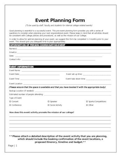 event planning form in pdf
