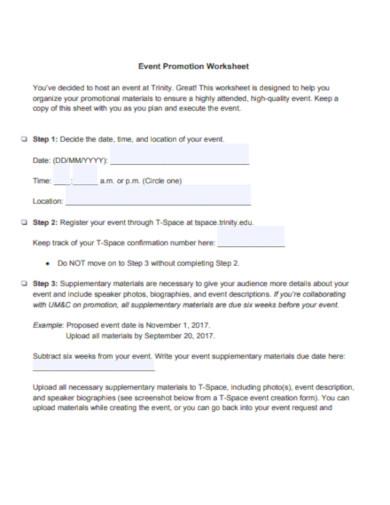 event promotion worksheet template