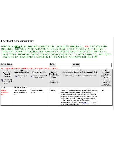 event risk assessment form template