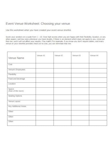 event venue worksheet template