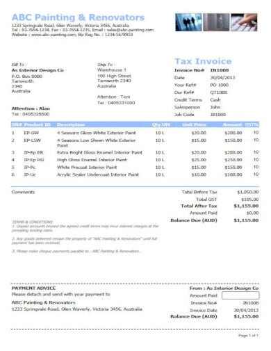 example painting service invoice