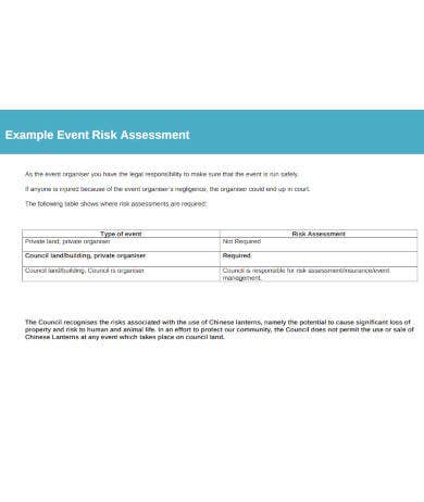 example of event risk assessment