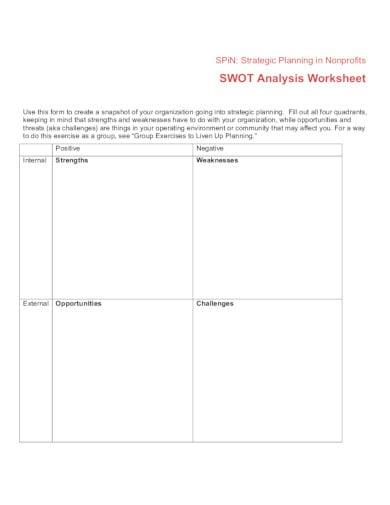 example of nonprofit swot analysis worksheet