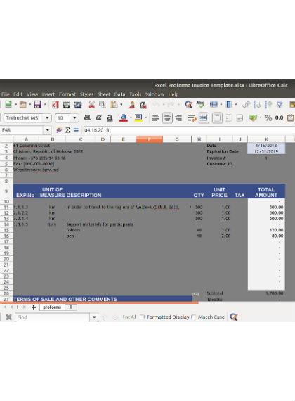 excel proformal invoice template