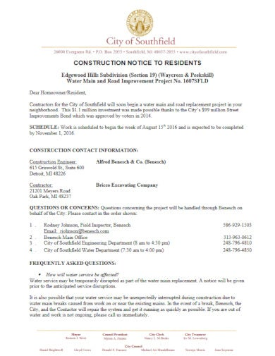 executive construction notice template