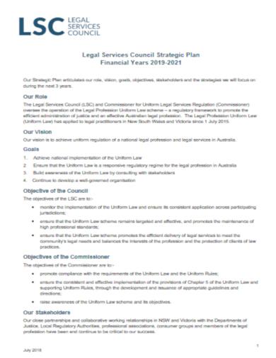 executive legal strategic plan template