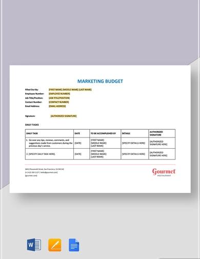 exemplary restaurant budget template