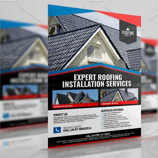 expert roofing services flyer example