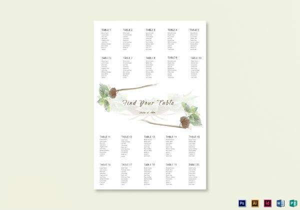 fall wedding seat plan template