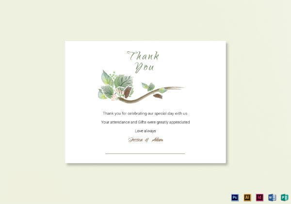 fall wedding thank you note card template