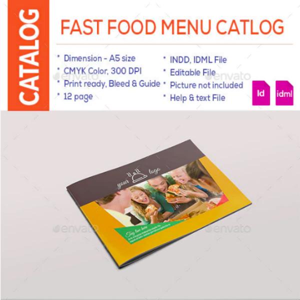 fast food menu catalog example