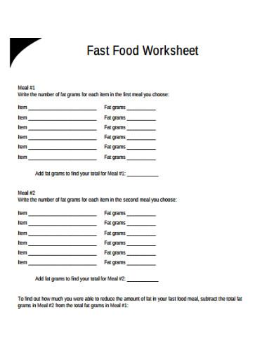 fast food worksheet example
