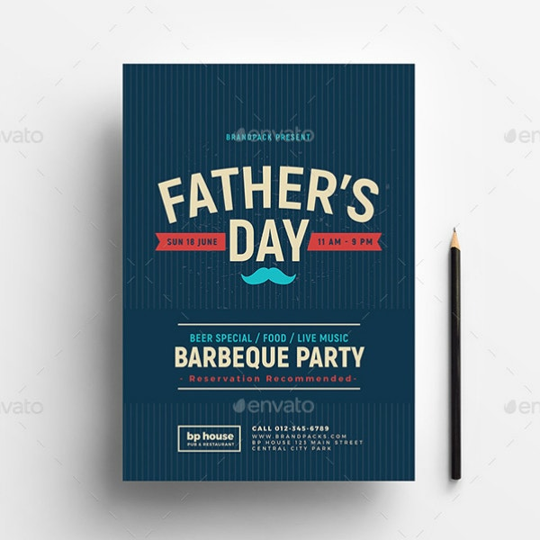 Father's Day Barbecue Party Poster