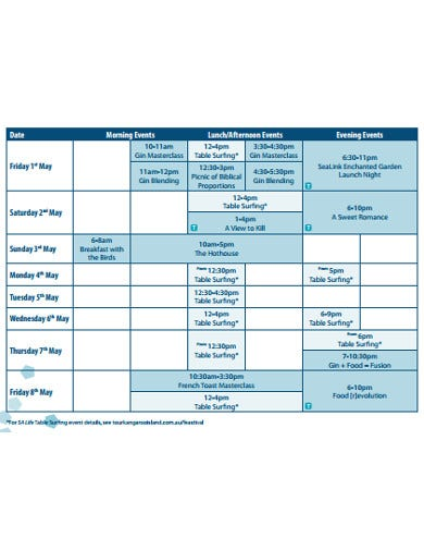 festival event calendar template