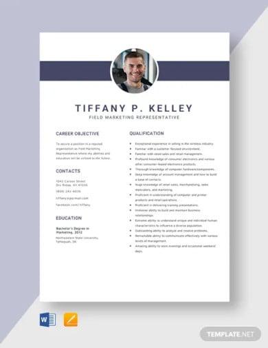 field marketing representative resume template