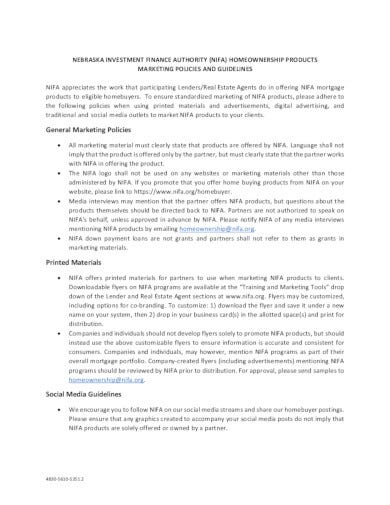 finance marketing policy template