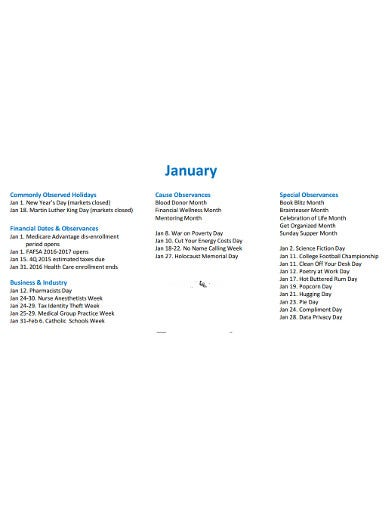 financial marketing calendar