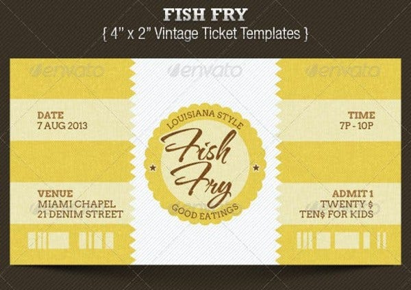 fish fry ticket template preview