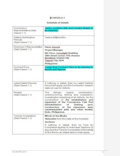 fish port construction work schedule template