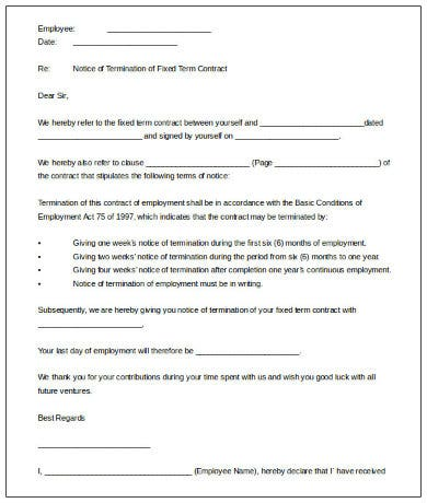 fixed term contract termination letter template printable