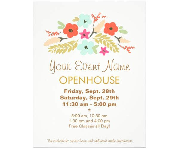 Floral Open House Flyer