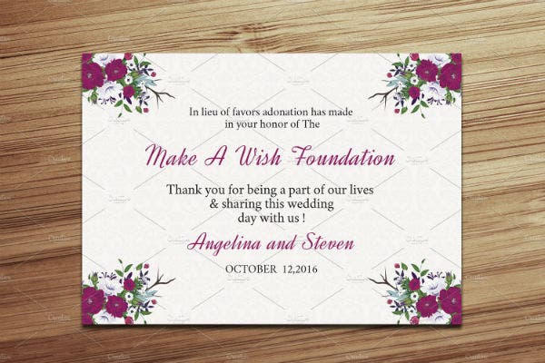 floral-wedding-donation-card-template