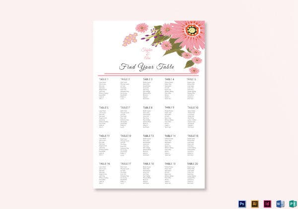 floral wedding seating plan template